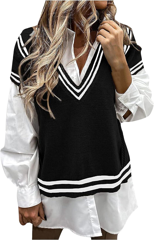 Sweaters for Women, Women's Preppy Style Knitwear Tank Top Sleeveless V-Neck Vintage Sweater Vest