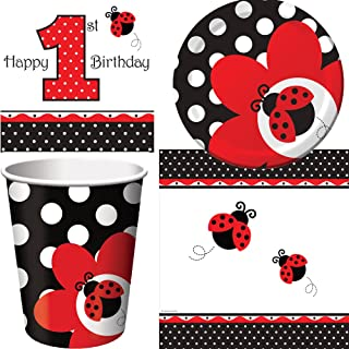 Ladybug Fancy Birthday Party Supplies For 16 Guests | Includes 16 Paper Lunch Napkins, 16 Paper Dessert Plates, 16 Paper Cups And 1 Table Cover | Adorable Ladybug Paper Plates And Napkins Set