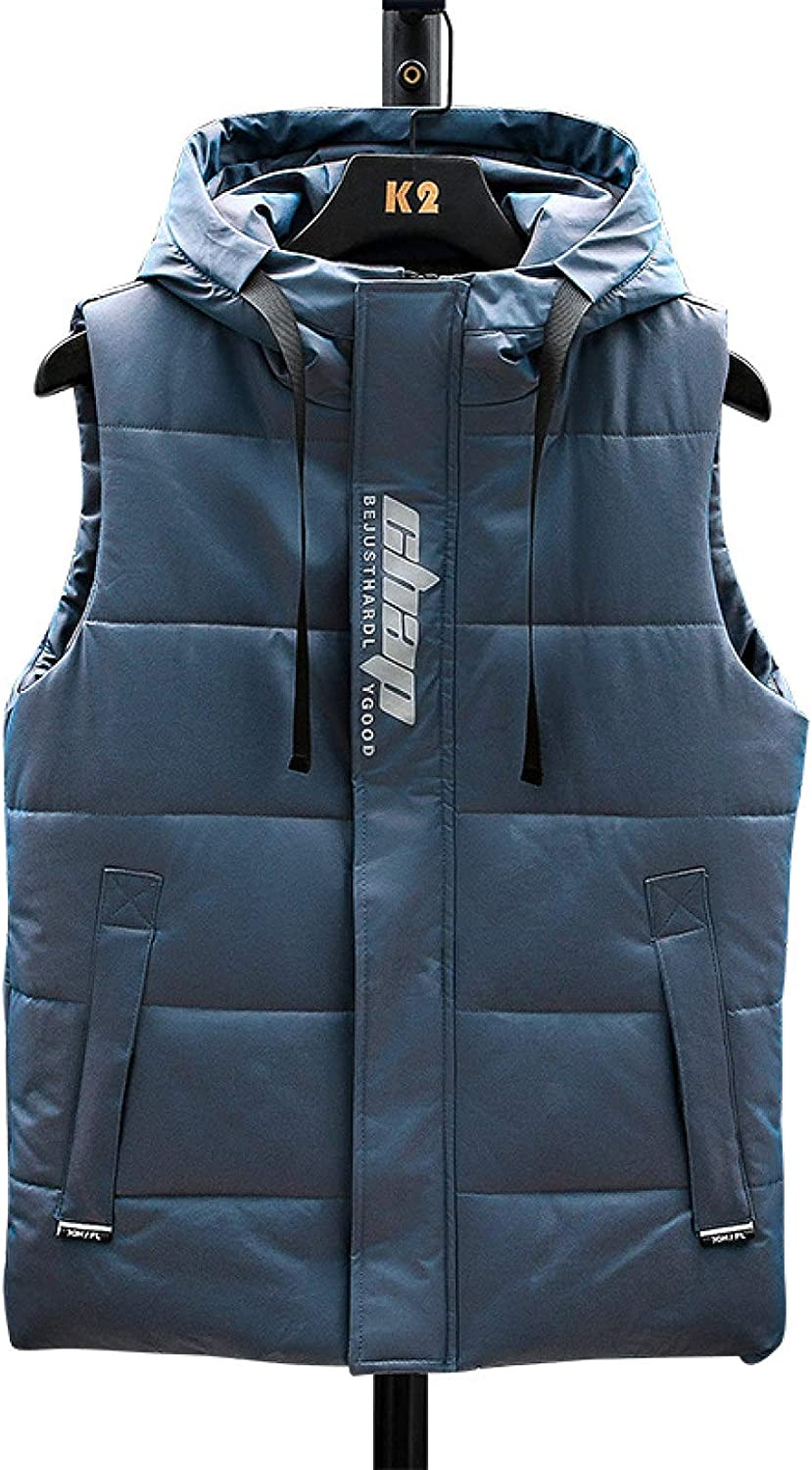 Mens Puffer Quilted Vest Polyester Detachable Hood Sleeveless Jacket Gilet Casual Stand Collar Padded Vests Coats