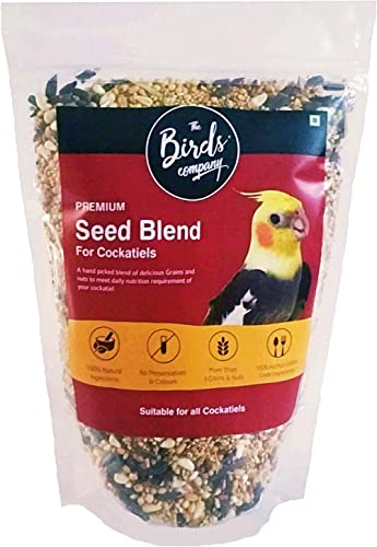 The Birds Company Seed Blend of 9 Grains & Nuts, with Spirulina & Cuttlefish Bone, Bird Food for Cockatiels, 450 g