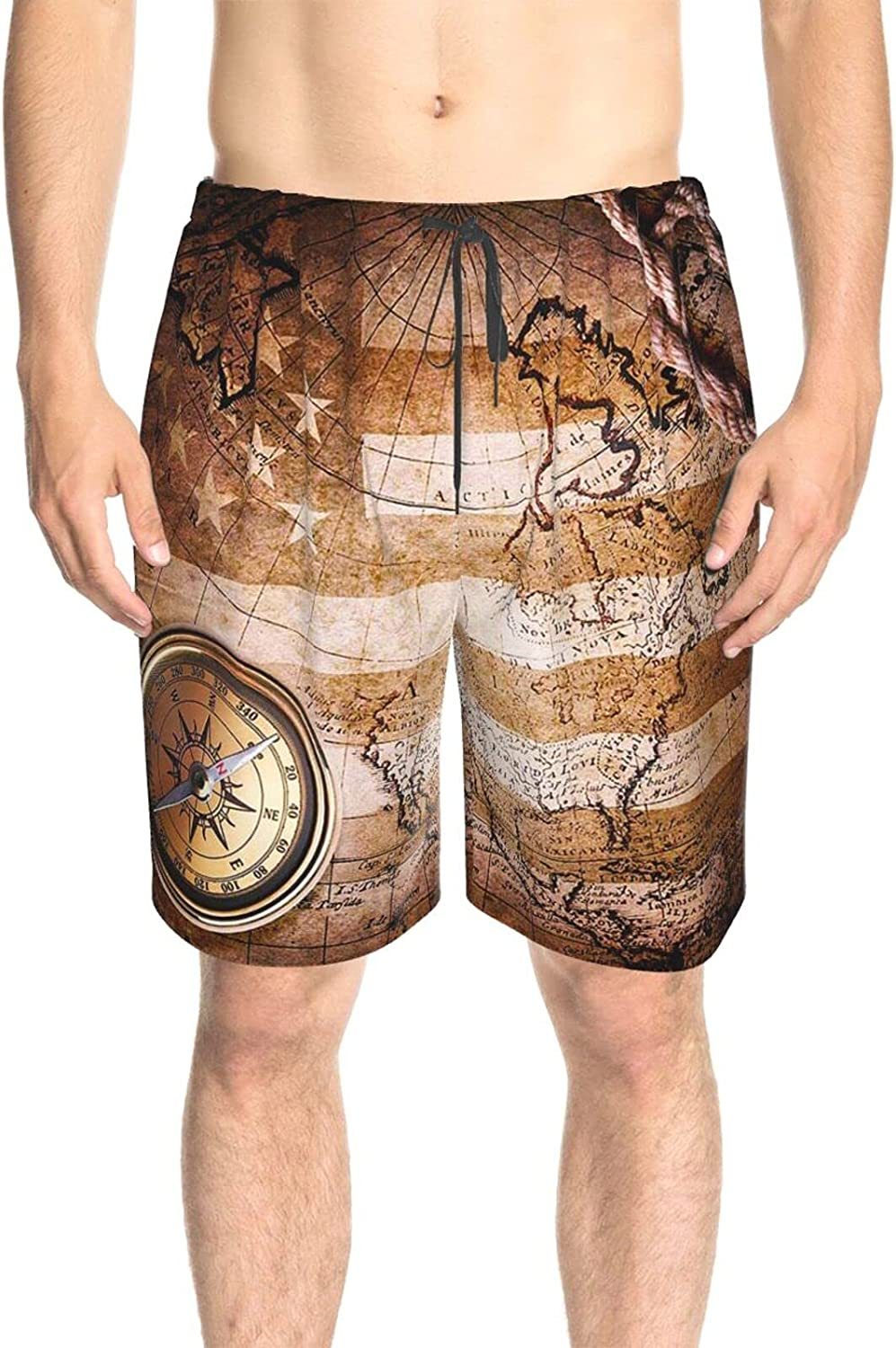 Mens Bathing Suits Vintage World Map Bathing Suit Boardshorts Drawstring 3D Printed Summer Beach Shorts with Liner