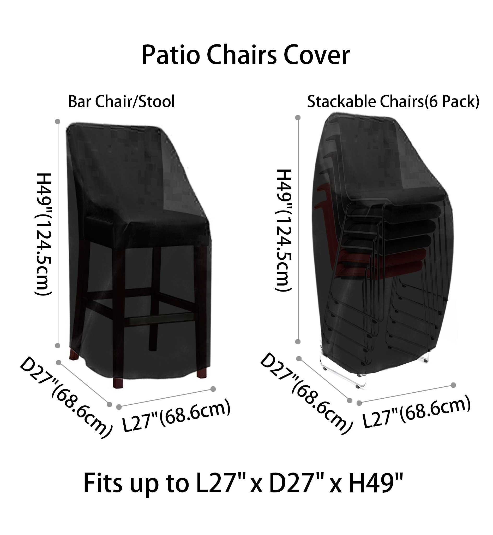 Patio Chair Covers Waterproof Durable Outdoor Bar Stool Cover Premium  Stairs Cover Stackable Chairs Cover Black Thick Oxford Cloth (L4.4 x D4.4  x