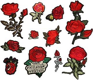 Dsaren 11pcs Toppe Termoadesive Fiori Patches Ricamato Rose Fiore Fai Da Te Adesivi Toppe da Cucire per Vestiti Jeans