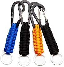 Useful for Outdoor Camping Easere Outdoor Paracord Survival Keychain Paracord Lanyard Keychain with Carabiner Bottle Opener Screw Wrench for Keys Hiking Knife Flashlight Whistle