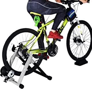 HEALTH LINE PRODUCT H0liday Pr0m0ti0n Price Bike Trainer Stand, Heavy Duty Stable Bike Stationary Riding Stand Supports 350lbs Bicycle Trainer with Quick Release Wheel Block & 8 Level Resistance