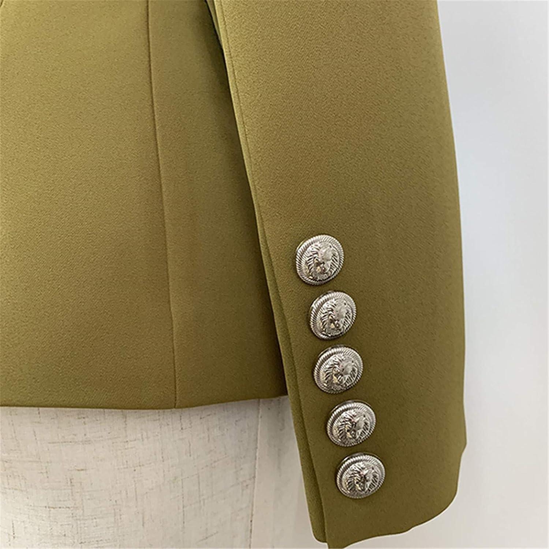 Laoling Blazer Femme Boutons Lion Double Boutonnage Vert Arm/ée