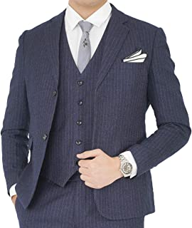 Wenergyスーツ メンズ スーツ スリーピーススーツ スリムスーツ ビジネス 3点セットアップ ストライプ(ジャケット ベスト 洗えるスラックス)通勤入学式結婚式二次会春秋披露宴ビジネス