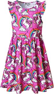 Girls Flutter Sleeve Unicorn Mermaid Dresses Summer Party Beach Hawaiian Clothes