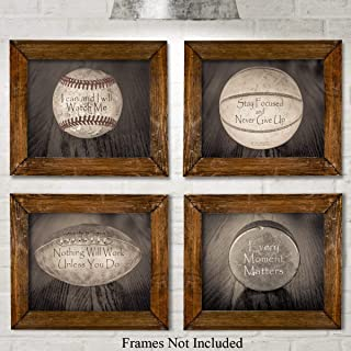 Inspirational Sports Quotes - Set of Four Photos (8x10) Unframed - Makes a Great Gift Under $20 for Boy's Room Decor