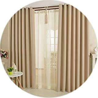 CHANGE Modern Linen Window Curtains for Living Room Bedroom Kitchen Curtains for Solid Blackout Curtains Fabric Drapes Home Decor,Brown,W250xL270cm 1pieces,2.Hooks top