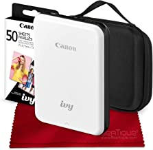 Canon Ivy Bluetooth Mini Mobile Photo Printer (Slate Gray) with Canon 2 x 3 Zink Photo Paper (50 Sheets) and Hard Shell Case Deluxe Bundle