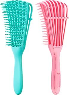 2 Pieces Detangling Brush for Hair Textured 3a to 4c Kinky Wavy/Curly/Coily/Wet/Dry/Oil/Thick/Long Hair, Knots Detangler Easy to Clean (Pink, Green)