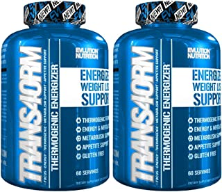 Evlution Nutrition Trans4orm Thermogenic Energizing Fat Burner Supplement, Increase Weight Loss, Energy and Intense Focus (2-Pack 60 Serving Capsules)