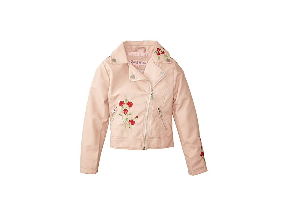Urban Republic Kids Devin Faux Leather Embroidered Moto (Little Kids/Big Kids) (Rose Smoke) Girl
