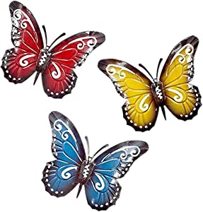 Lovely Ran Metal Butterfly Wall Decor 3 Pcs Large Metal Insect Garden Yard Art Hanging Decoration 3D Iron Art Sculpture Ornaments,for Patio, Fence or Tree