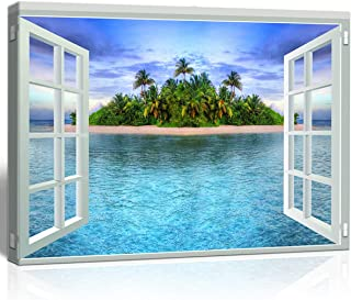 The Melody art - White Window Looking Out Into The Island and Blue sea - Canvas Wall Art Home Decor - 16x24 inches