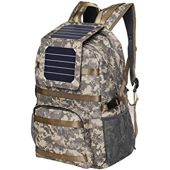 XTPower Xplorer Camouflage 38 | Solar Backpack with Removable 5 Watt Solar Panel | Military Print/Camouflage | 5V USB Output to charge Smartphones, Powerbanks, Tablets, GPS, and other USB devices