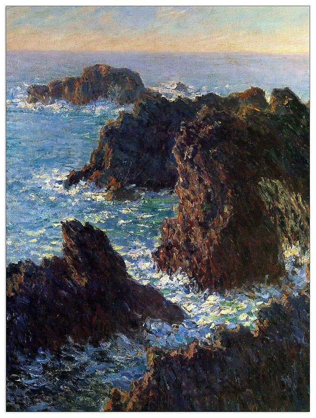 ArtPlaza TW91908 Monet Claude - Rocky Peaks at The Belle-ILE Decorative Panel 27.5x35.5 Inch Multicolored
