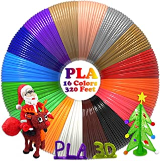 dikale 3D Pen/3D Printer Filament(16 Colors, 320 Feet) Bonus 250 Stencils eBooks 3D Pen Filament 1.75mm PLA for Tecboss Nulaxy etc(Does Not Fit 3Doodler)