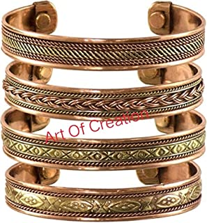 Set Of 4 Tibetan Magnetic Copper Bracelet Spiritual Yoga Jewelry Cuff,Bangle, Kada From India for Women and Men. Best For Gifting Birthday, Anniversary, Valentine's Day