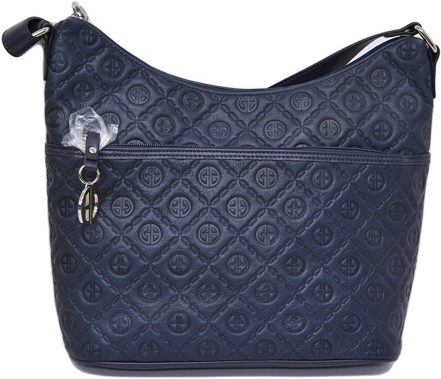 Giani Bernini Womens Embossed Logo Hobo Handbag Navy