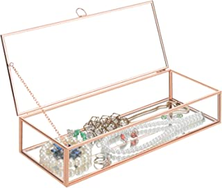 MyGift Rose Gold Metal & Glass Mirrored Jewelry Display Box with Hinged Top Lid