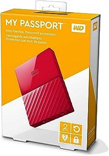 قرص صلب خارجي ماي باسبورت من ويسترن ديجيتال بسعة 2 تيرا، بمنفذ يو اس بي 3.0، احمر - WDBYFT0020BRD