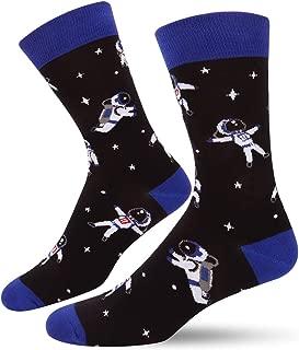 Men's Funny Alien Bigfoot Space Crew Socks,Cool Rocket Astronaut Moon Design