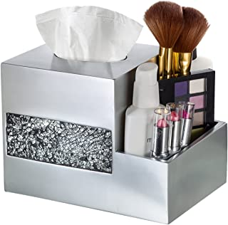 Tissue Box Cover - Wipe Holder - Multi-Function Organizer for Makeup Cosmetics Pen Pencil Remote Control Phone iPad, for Living Room Bathroom Kitchen Office Desktop Table, (Silver)