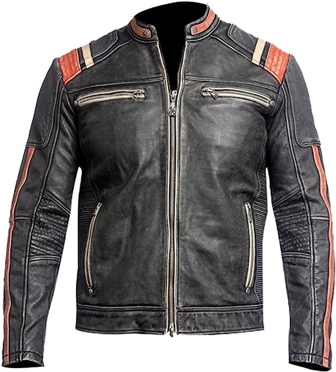 Men's Vintage Jackets & Coats Cafe Racer Jacket Vintage Motorcycle Retro Moto Distressed Leather Jacket  AT vintagedancer.com