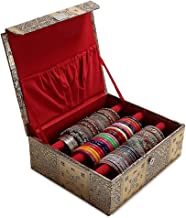 Trendifly Wooden 1 Piece 3 Rod Bangle Storage Box (Gold)