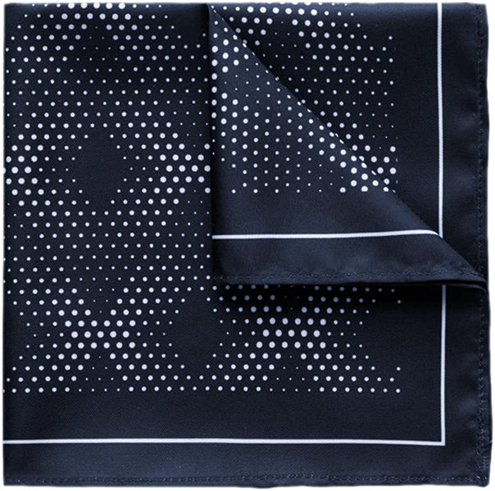Kingsquare Special price for a limited time 100% Silk Dark Navy Blue wi Pocket Diamond Industry No. 1 Dot Square