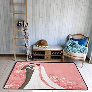 Kids Rug,Wedding Bride and Groom Getting Married Dancing on Pink Floral Background Abstract Art,Rustic Home Decor,3'11