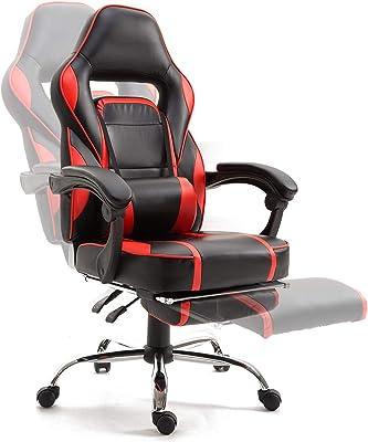 Samincom Gaming Chair Silla de Escritorio giratoria de Estilo de Oficina con reposapiés Acolchado, PU