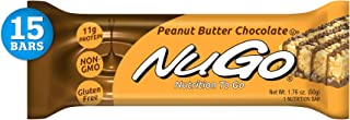 NuGo Protein Bar, Peanut Butter Chocolate, 11g Protein, 170 Calories, Gluten Free, 15 Count