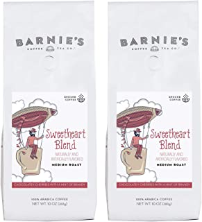 Barnie's Sweetheart Blend Ground Coffee | Chocolate, Cherry and Brandy Flavored Coffee | Medium Roasted Arabica Coffee Beans | 2-Pack