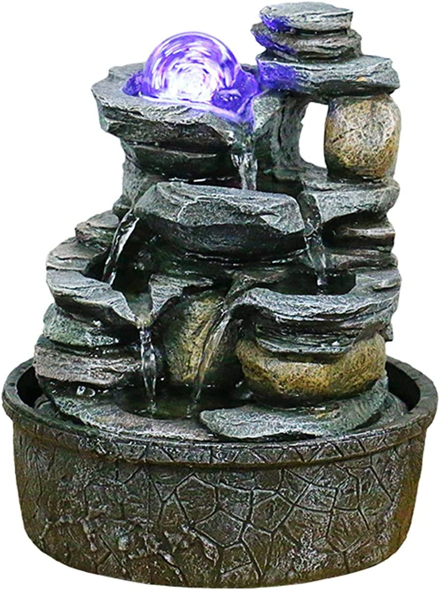 Fuente Fuente de agua de la mesa de agua, rocas apiladas de la cascada interior, característica de agua relajante, sonido, decoración para el hogar para dormitorio o área de comedor fuente de mesa