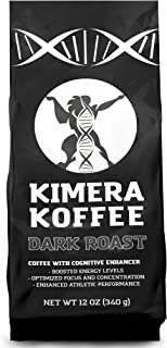 Kimera Koffee Dark Roast - Organic Ground Coffee Infused with Essential Brain Vitamins (12oz), Rich, Organic Coffee Beans with Cognitive Enhancers to Boost Energy Levels, Brain Function, Memory, Focus, and Athletic Performance