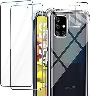AROYI Kompatibel med Samsung Galaxy A51 5G, 2-pack skärmskydd och 2-pack kameralinsskydd, transparent mjuk TPU silikon stö...