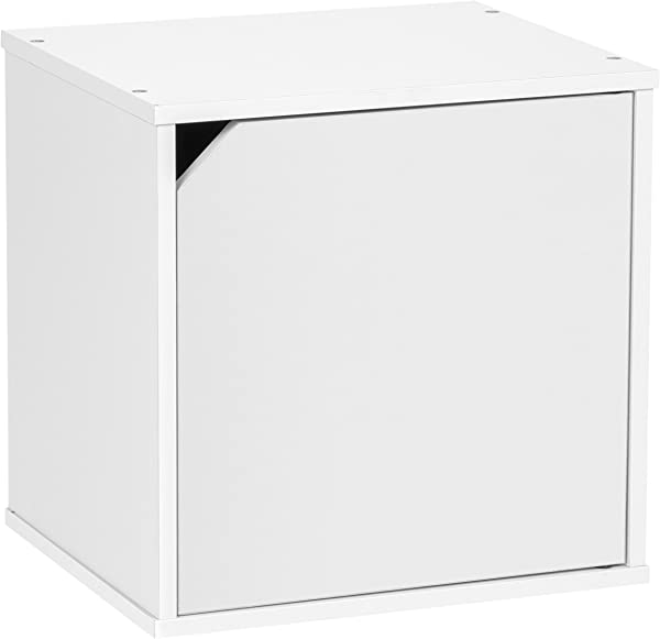 IRIS USA CQB 35D Modular Wood Storage Cube Box With Door White 1 Pack