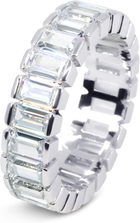 Savlano 18K White Gold Plated Cubic Zirconia 4x6MM Emerald Cut Eternity Ring Band for Women Men