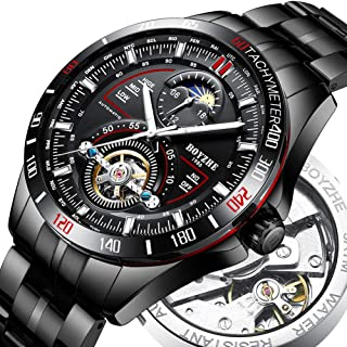 BOYZHE 2018 Mens Mechanical Watch Waterproof Tourbillon Wrist Watch Stainless Steel Leather Sport Military Automatic Watches