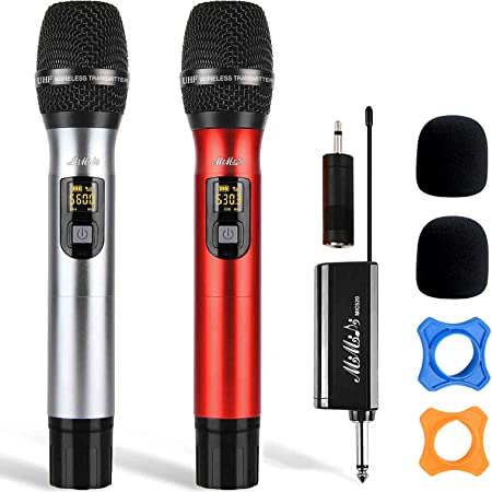 Wireless Microphone - Dual Handheld UHF Portable Dynamic System with Rechargeable Receiver, MIMIDI Karaoke Mic for Singing Machine,PA,Speaker,Party,Church,Meeting,260ft (MIC520)