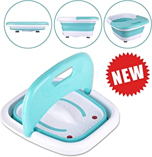 Foot Spa Massager-Portable Foot Bath Tub New 2019 Version w/Electric Heating & Bubble Wave - All in One Pedicure Machine Home Use Set for Relaxation & Red Light Therapy - Collapsible Design