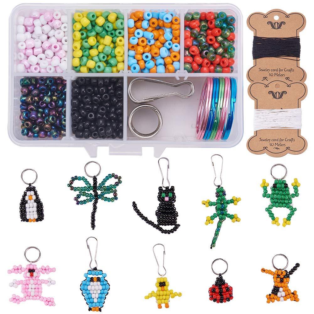 SUNNYCLUE 1 Caja de 1000+ Unidades Perlas Abalorios para llaveros Manualidades Kits para Hacer bisutería niños Incluye Llavero y cordón – Hace 10 Mascotas de Cuentas: Amazon.es: Hogar