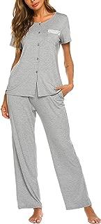 Womens Short Sleeve Button Down Shirt and Long Pajama Pants Sleepwear Set with Pockets (S-XXL)