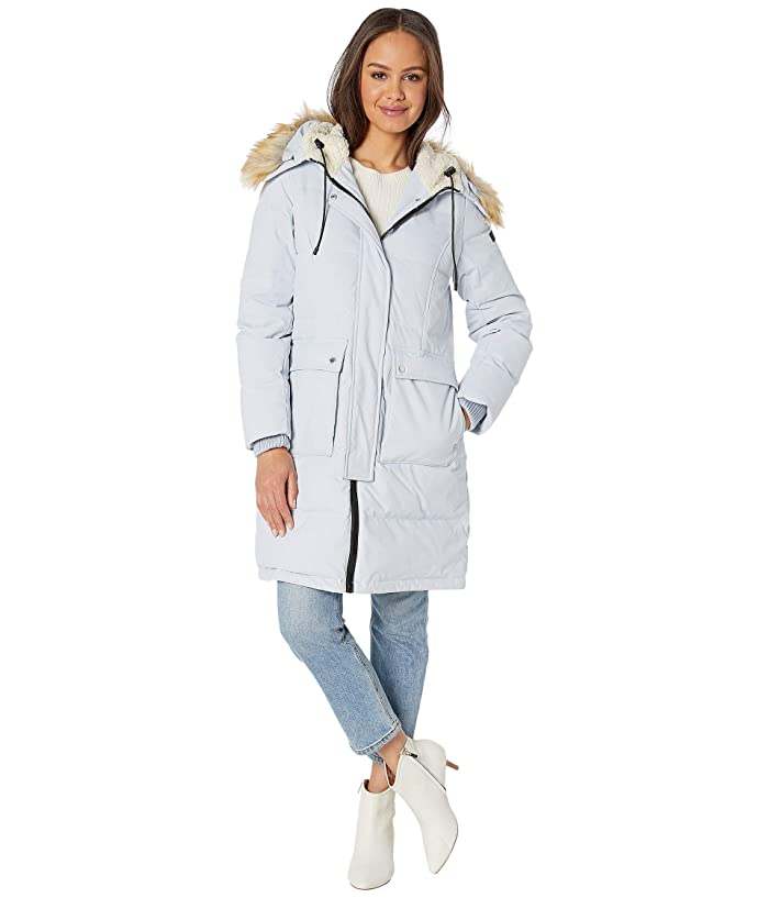 Sam Edelman  3/4 Parka with Patch Pockets (Light Blue) Womens Coat