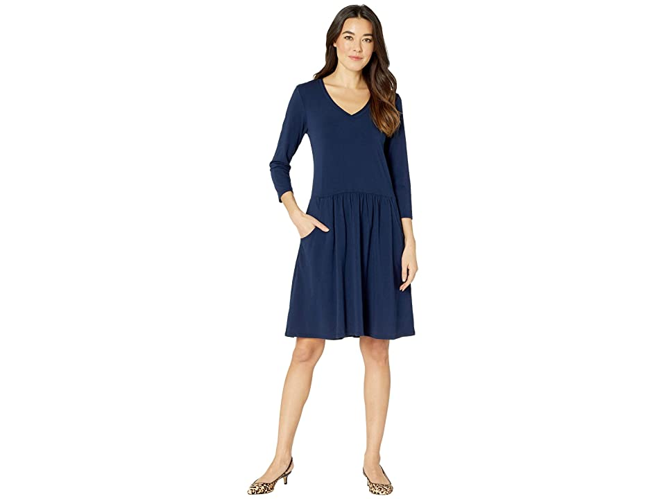 Mod-o-doc Cotton Modal Spandex Jersey 3/4 Sleeve Easy Fit Dress with Front Pockets (True Navy) Women