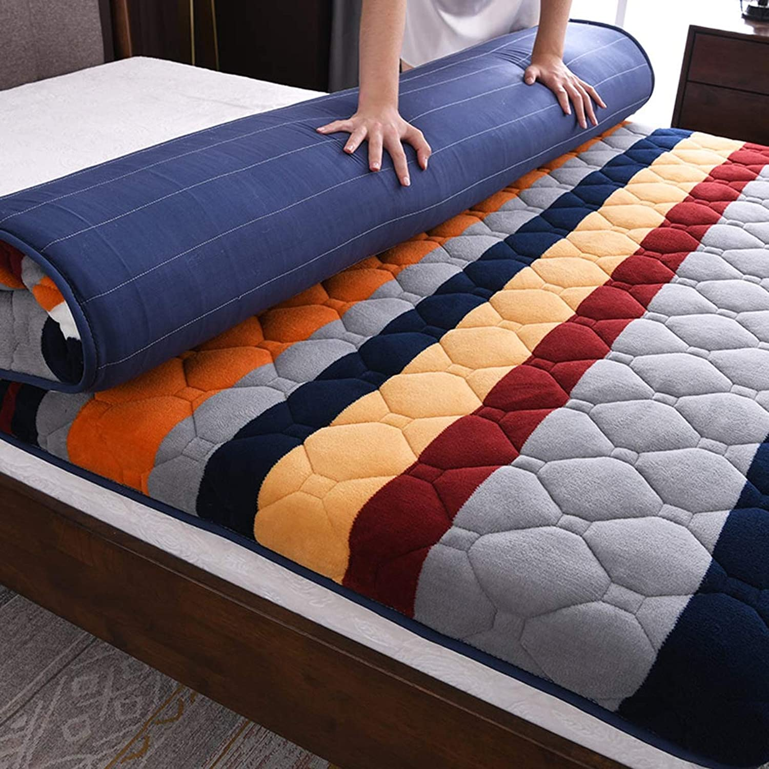 10cm Thick Flannel Floor Futon Mattress, Japanese Traditional Futon Mattress Classe Sleeping Tatami Floor mat Mattress Topper for Dorm Bedroom,B,100  200cm