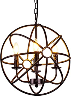 AIDOS Industrial Vintage Retro LOFT Style Wrought Iron Metal Globe Cage Round Pendant Lamp Fixture Pendant Light Chandelier use 4 E14 Blubs